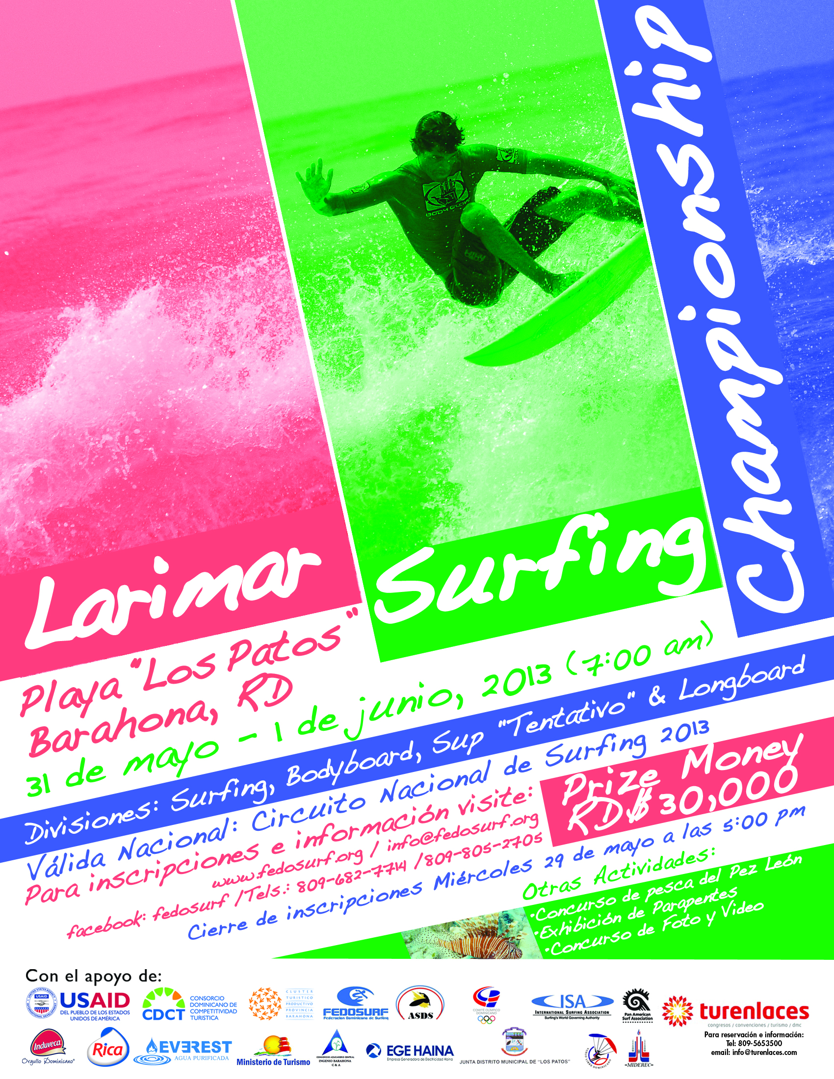 Surf in Los Patos Barahona Dominican Republic FEDOSURF